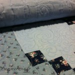 Feathers, apple cores and flowers: Custom free motion quilting on quilt pieced by Agnes H.