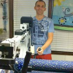 Doug quilting his first Quilt of Valor.